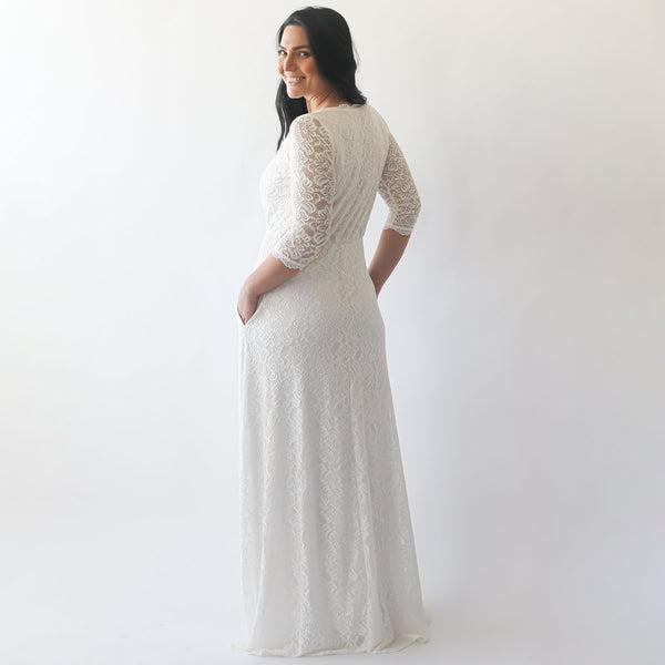 Curve & Plus size Wrap wedding dress with pockets #1273