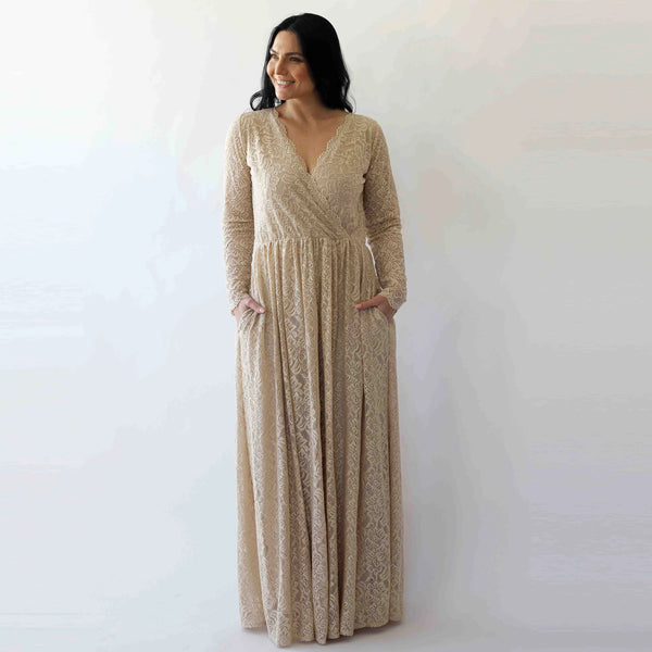 Curve & Plus size  Champagne boho wedding dress with pockets #1269
