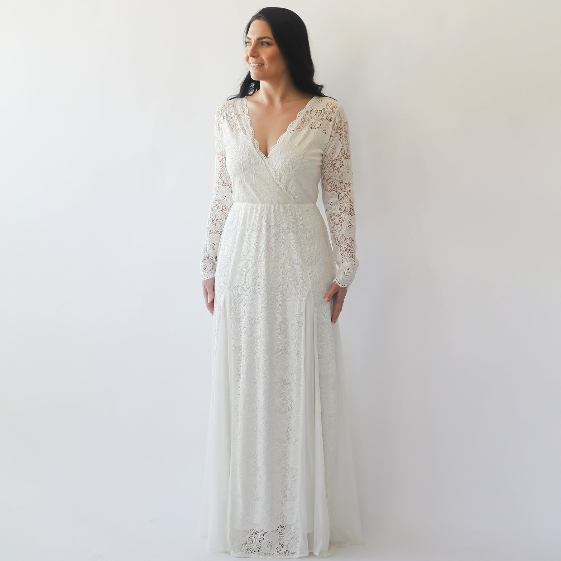 Curve & Plus size Long Sleeves lace wedding dress,Long sleeves Ivory bohemian wedding dress 1239