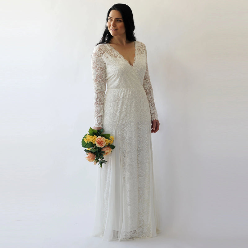 Curve & Plus size Long Sleeves lace  bohemian  dress #1239
