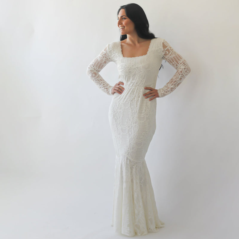 Mermaid  wedding dress with square neckline #1245