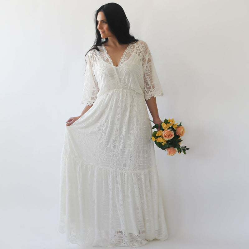 Curve & Plus size Bohemian ivory bat sleeves lace wedding Dress #1241
