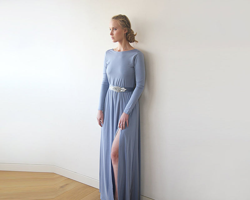 Dusty Blue Open Back Maxi Dress  #1100
