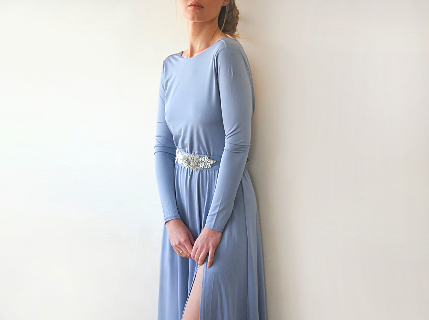Dusty Blue Open Back Maxi Dress, Backless Bridesmaids Dress With A Slit, Long Sleeves Dusty Blue Dress 1100 - Blushfashion