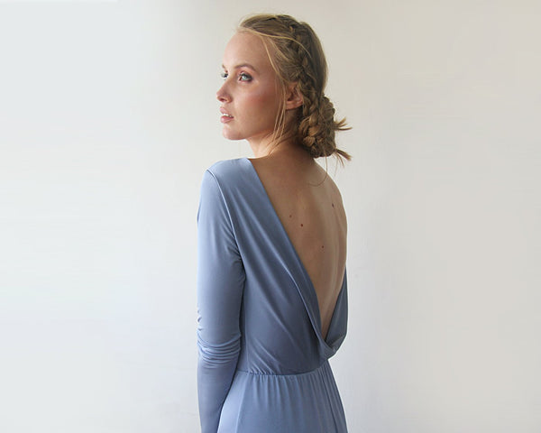 Dusty Blue Open Back Maxi Dress, Backless Bridesmaids Dress SALE 1100