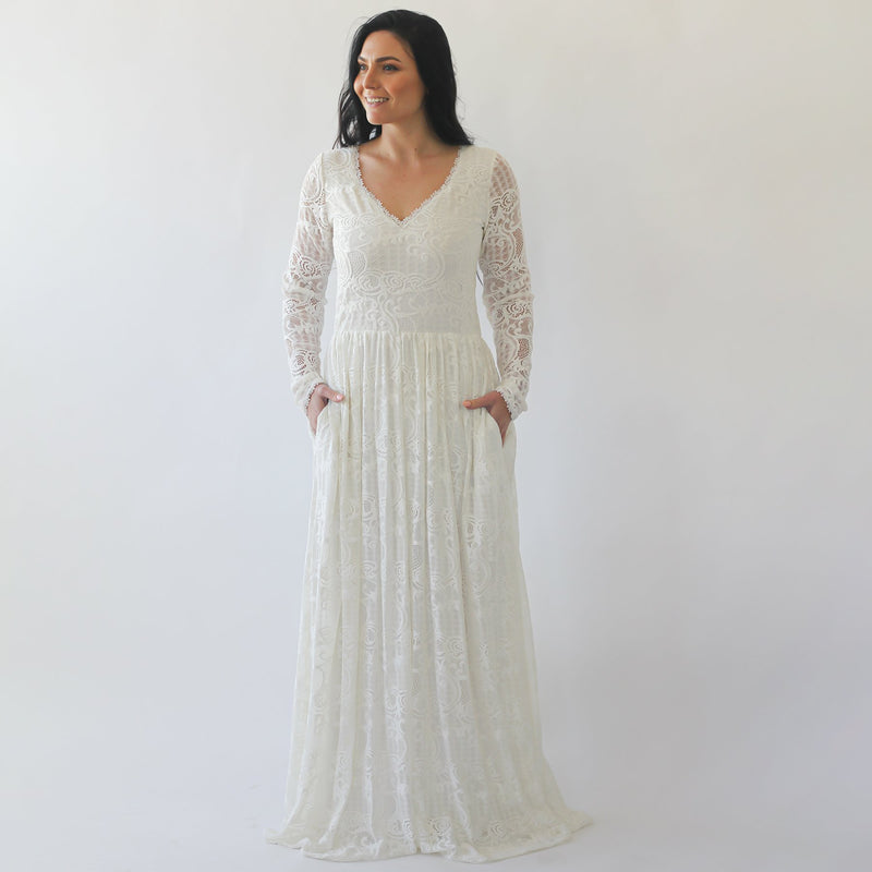 Curve & Plus size Diamond neck wedding dress with pockets #1243