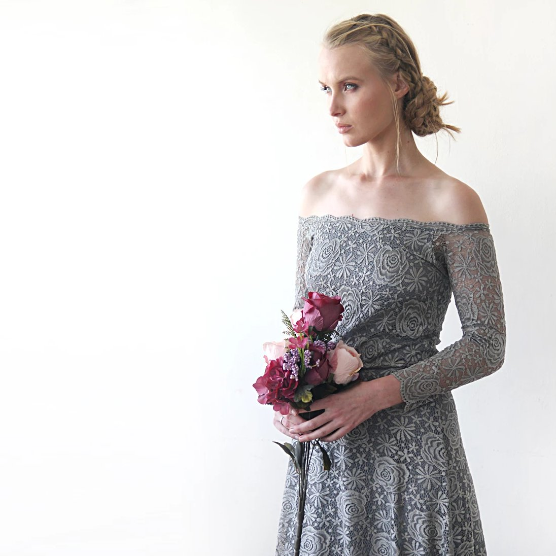 Grey lace Gown, Bridesmaids Lace Dress, Off Shoulder Maxi Dress, Grey Wedding Dress, Long Sleeves Boho Style Lace Dress 1119 - Blushfashion