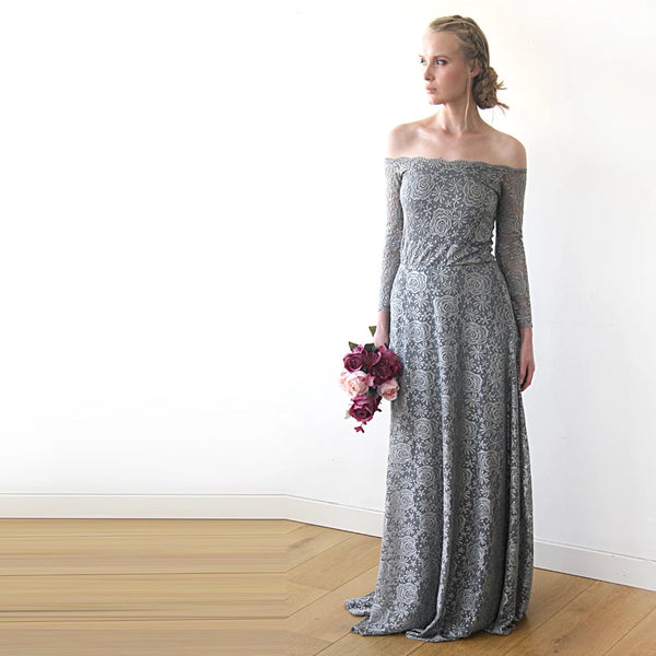 Grey lace Gown, Bridesmaids Lace Dress, Off Shoulder Maxi Dress, Grey Wedding Dress, Long Sleeves Boho Style Lace Dress 1119