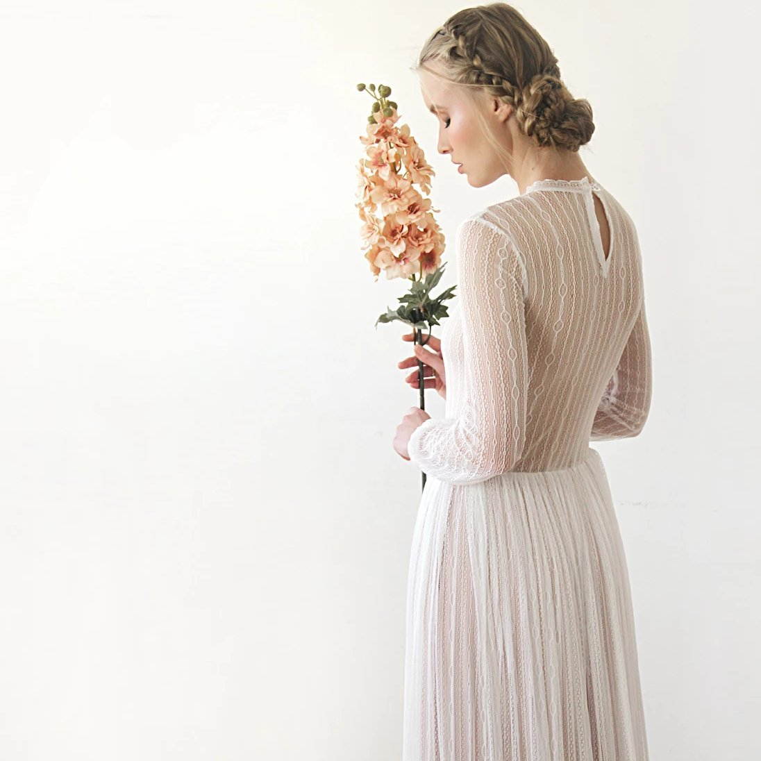 Modest Lace Wedding Dress, Gentle Stripes Pattern Maxi Dress, Vintage Style Long Sleeves Wedding Dress 1209