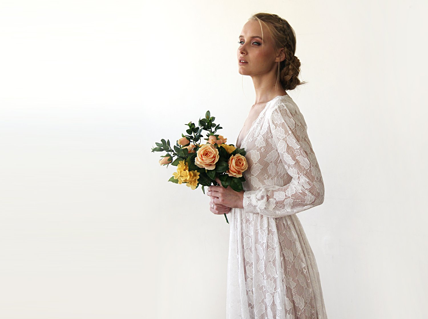 leaves lace wedding dress,Boho V-Neck Long Sweep Train With Long Sleeves, Bishop Sleeves Wedding Dresses 1208