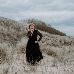 Curve & Plus size Black wrap tulle gown with long chiffon sleeves and slit, Black bridesmaids tulle gown 1174