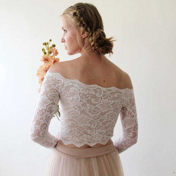 Long Sleeves Wedding Bridal Top , Off shulder Bridal top, cropped top  lace wedding top 2058