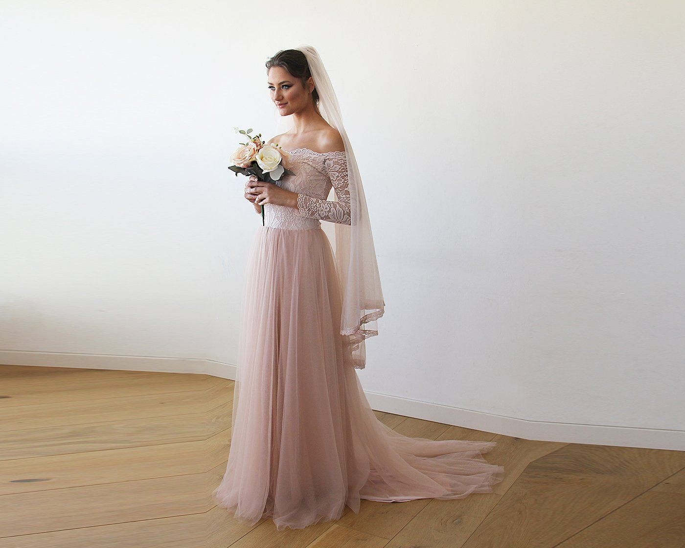 Pink Off-The-Shoulder Lace and Tulle Train Wedding Gown 1162 ...