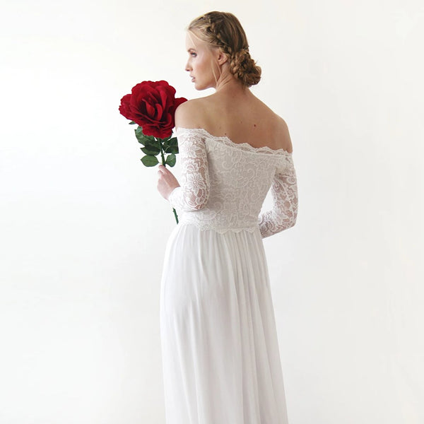 Ivory Off-The-Shoulder Lace Wedding Dress, Lace And Chiffon Wedding Dress, Light Ivory Wedding Dress 1215