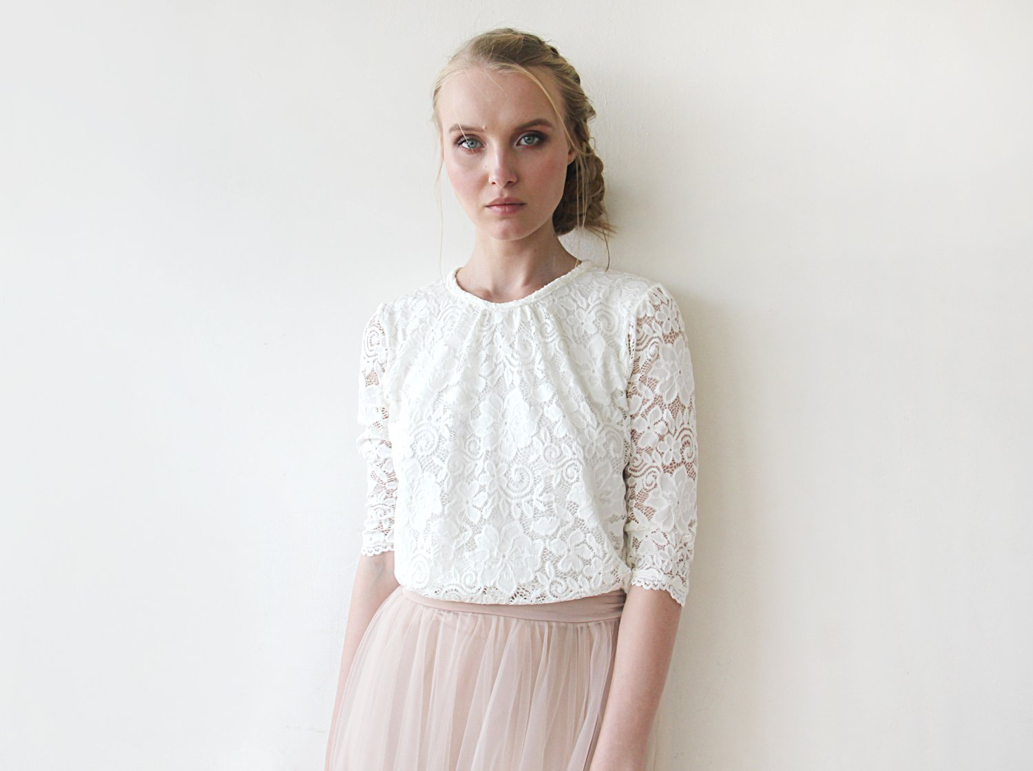 Ivory 3/4 sleeves lace bridal top , Modest lace top, Ivory bridal lace top 2051 - Blushfashion