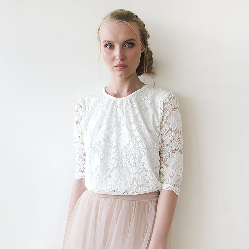 Ivory Modest lace top #2051