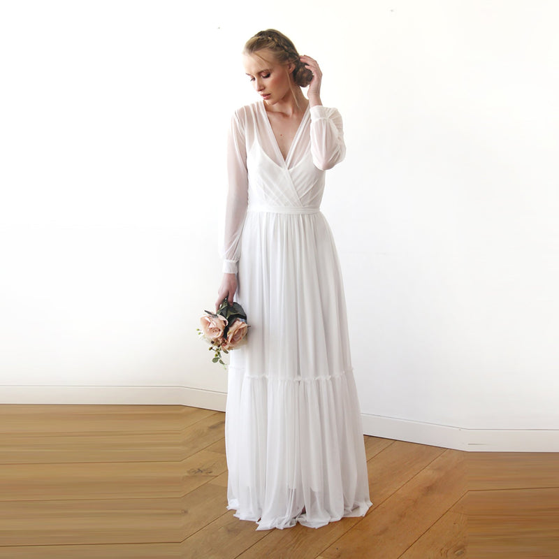 Two In One  All chiffon mesh White Wedding Dress #1218
