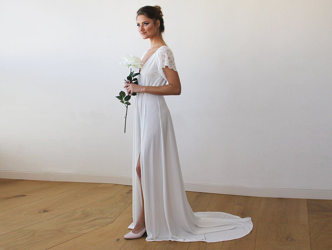 Ivory Wrap Wedding Gown With Short Lace Sleeves And Train
