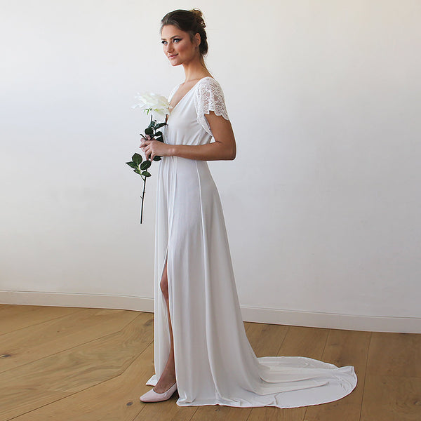 Ivory Wrap Wedding Gown With Train #1163