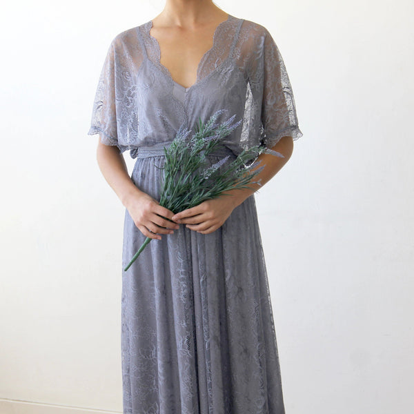 Lilac Grey sheer lace maxi dress 1044