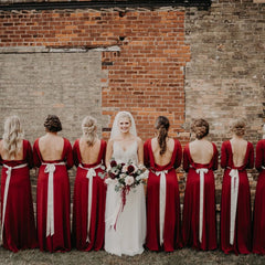 Deep Red Open Back Maxi Dress, Backless Bridesmaids Dress With A Slit 1100