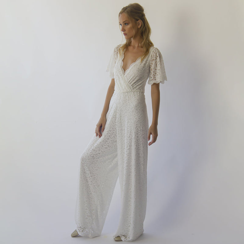Bohemian butterfly sleeves bridal Lace Jumpsuit #1308