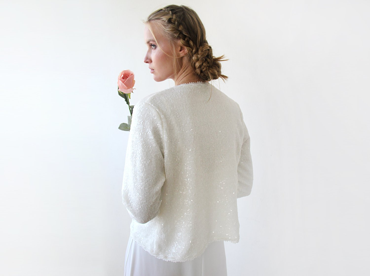 Sequin Ivory jacket, Elegant Bridal Blazer, Sequin Top 2053