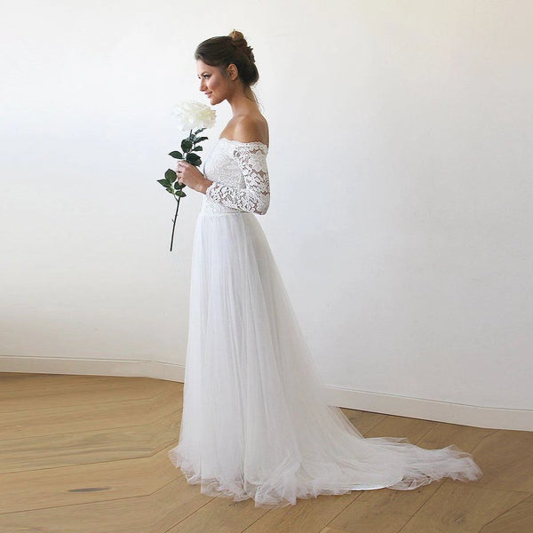 Off White Lace And Tulle Bridal Gown Simple Boho Wedding: Online Boutique Shop For Stunning Dresses By Blushfashion