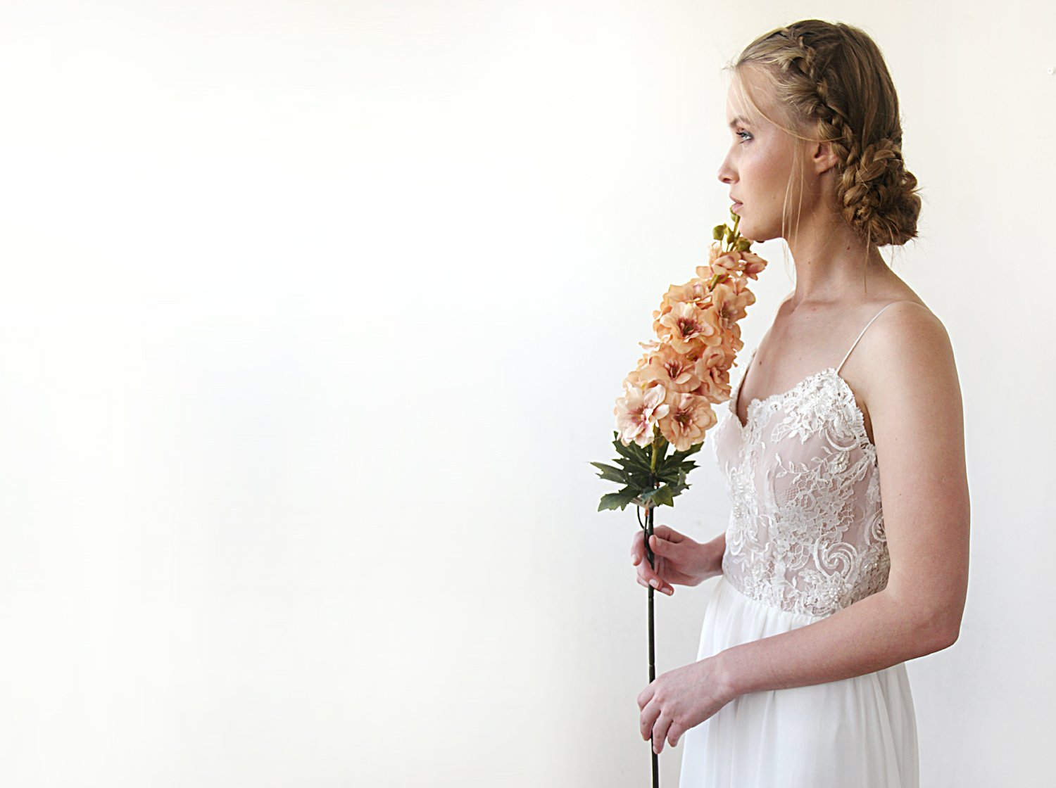 Custom Orders Only - Delicate Pearl Lace With Thin Straps, Lace And Chiffon Unique  Wedding Dress 1210 - Blushfashion