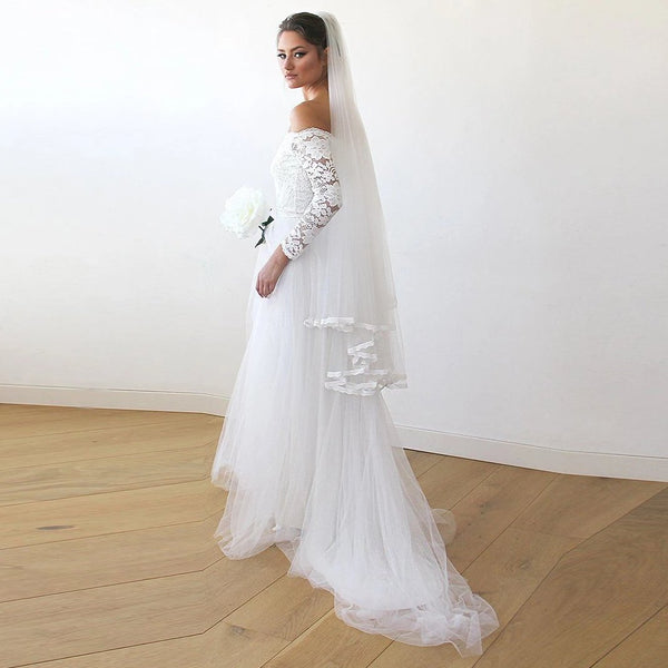 Ivory Off-The-Shoulder Lace and Tulle Train Wedding Gown 1162 - Blushfashion