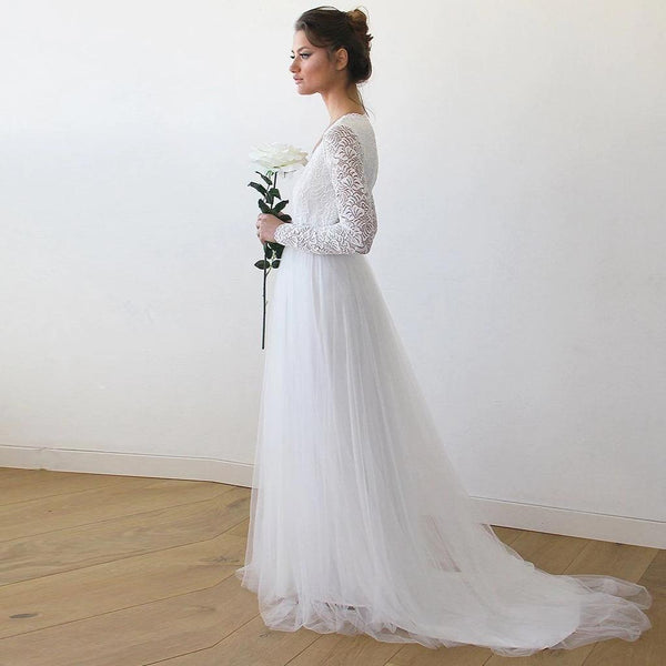 10398abdc6f2 ... Ivory Tulle and Lace Long Sleeve Wedding Train Gown 1164