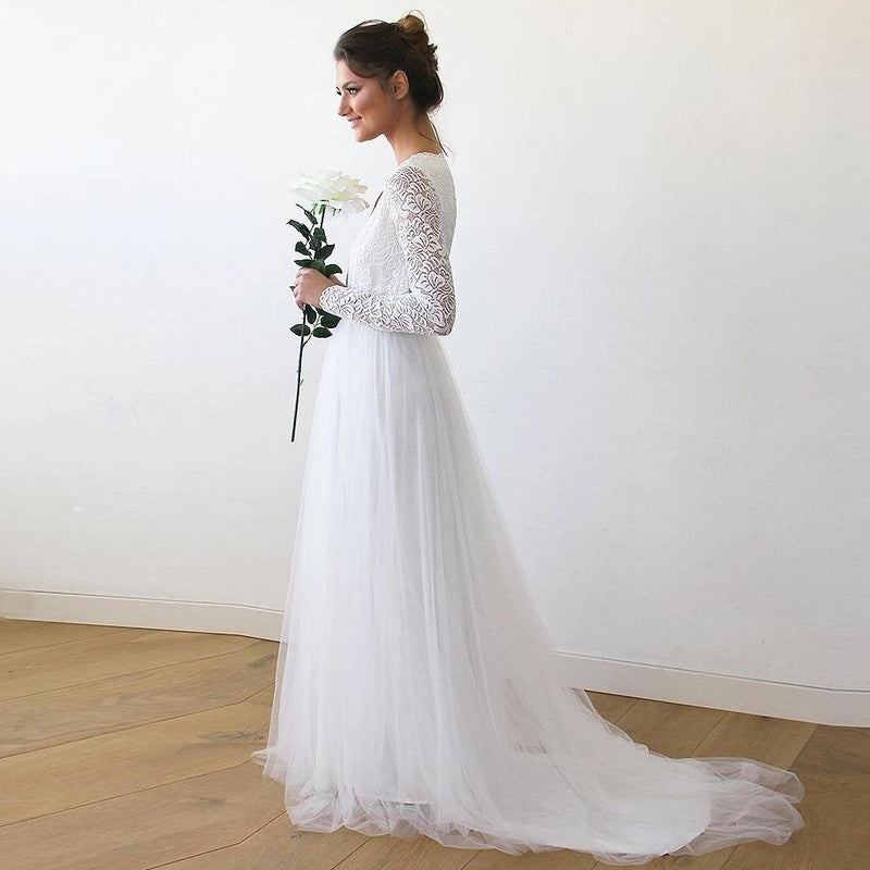 Ivory Tulle & Lace  Wedding Train Gown #1164