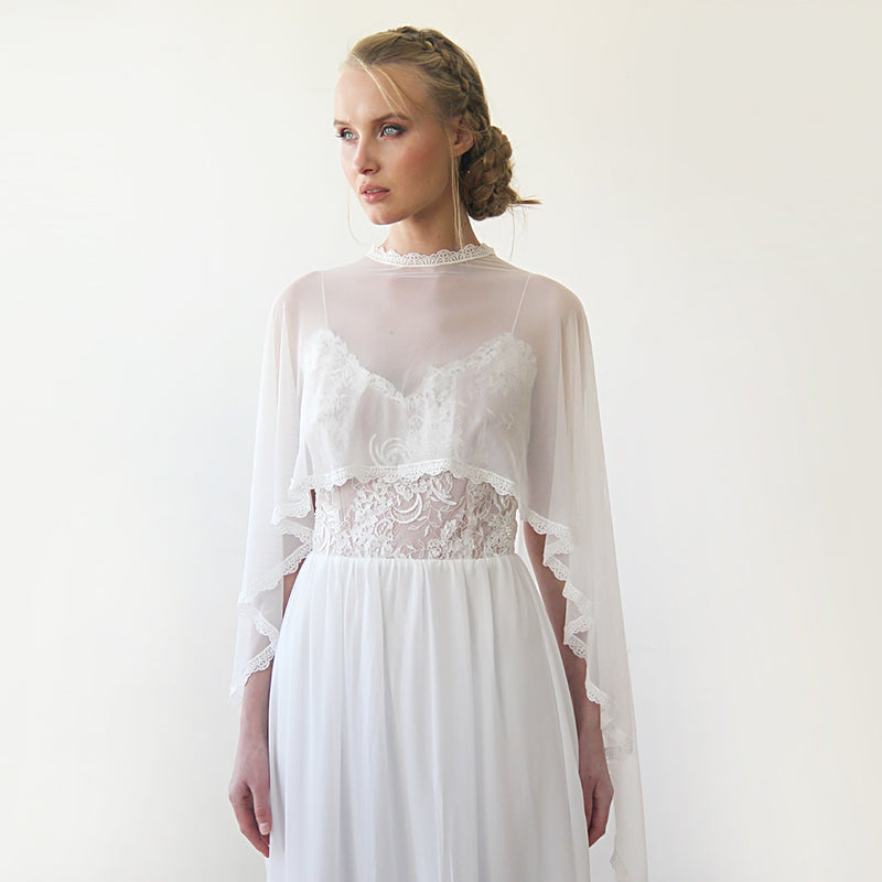 Chiffon mesh  Ivory Cape With A Train #4028