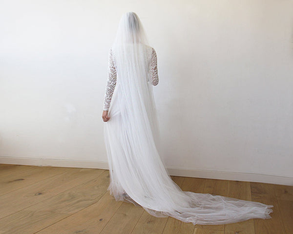 Ivory Tulle Veil, wedding tulle veil, soft wedding veil, 4024
