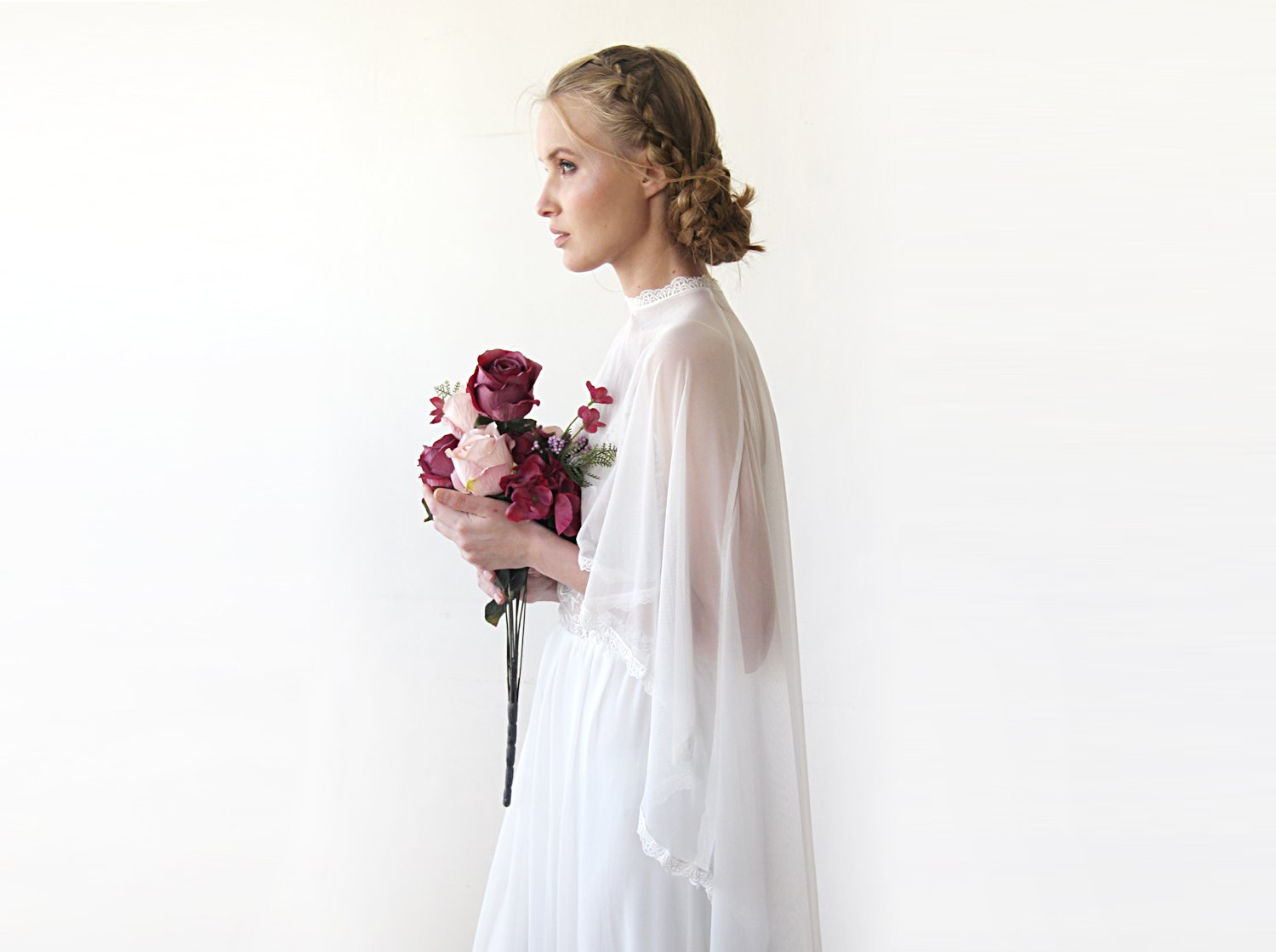 Chapel Length Ivory Cape, Chiffon bridal cape With A Train 4028 - Blushfashion