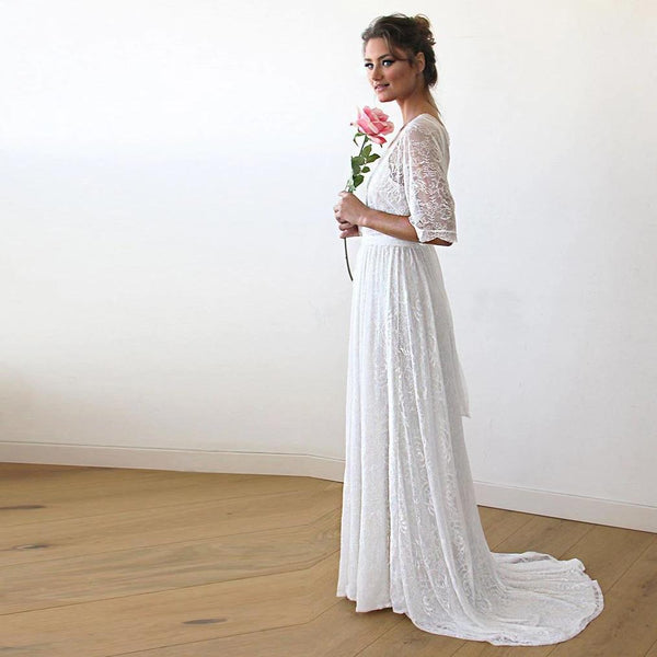 Floral Lace Ivory Sheer Dress With Train #1165