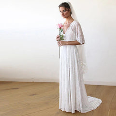 Floral Lace Ivory Sheer Maxi Dress With Train 1165