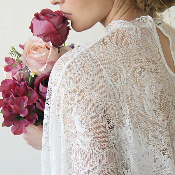 Floor Length Ivory Cape, Lace bridal cape, Wedding Sheer cape, Wedding Long Capelet, Bridal lace Cover Up 4026