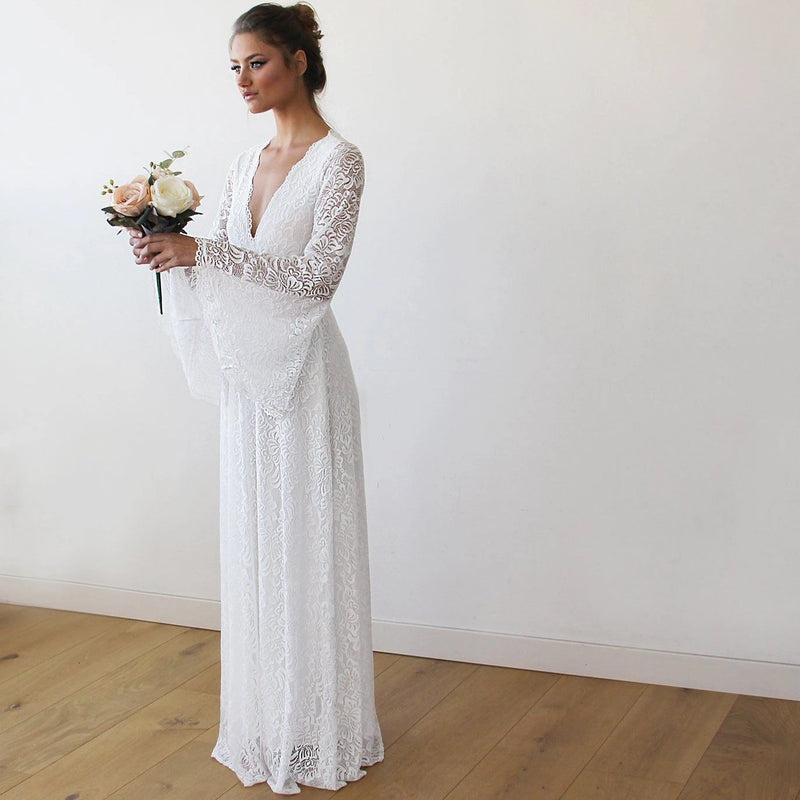 Full Lace Bell Sleeves Wedding maxi dress in Ivory 1167 - Blushfashion
