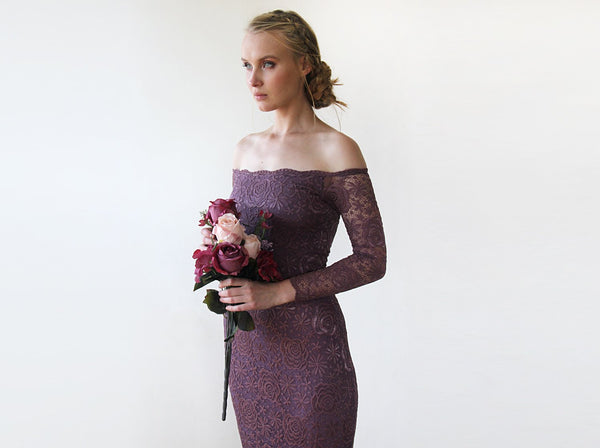 Purple Lace Off-Shoulders Dress, Mermaid Lace Dress, Wedding Guests Dress in Purple 1214