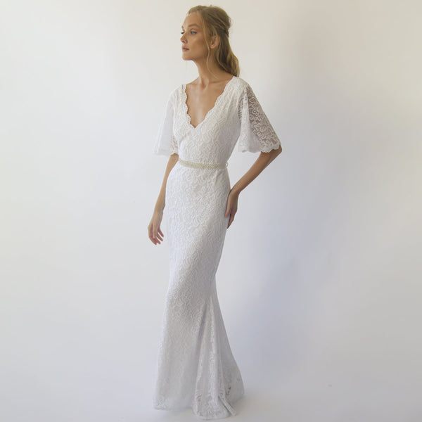 Bohemian butterfly Sleeves V neckline wedding dress with beaded sash belt #1295
