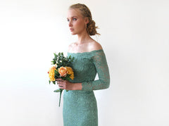 Sage Green Lace Off-Shoulders Dress, Mermaid Lace Dress, Wedding Guests Dress in Green 1214