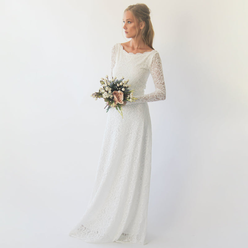 Bestseller Long sleeves boat neckline modest wedding dress  #1297
