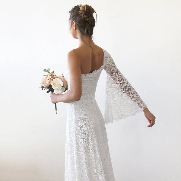 One Shoulder Floral Lace Gown With Long Train 1166