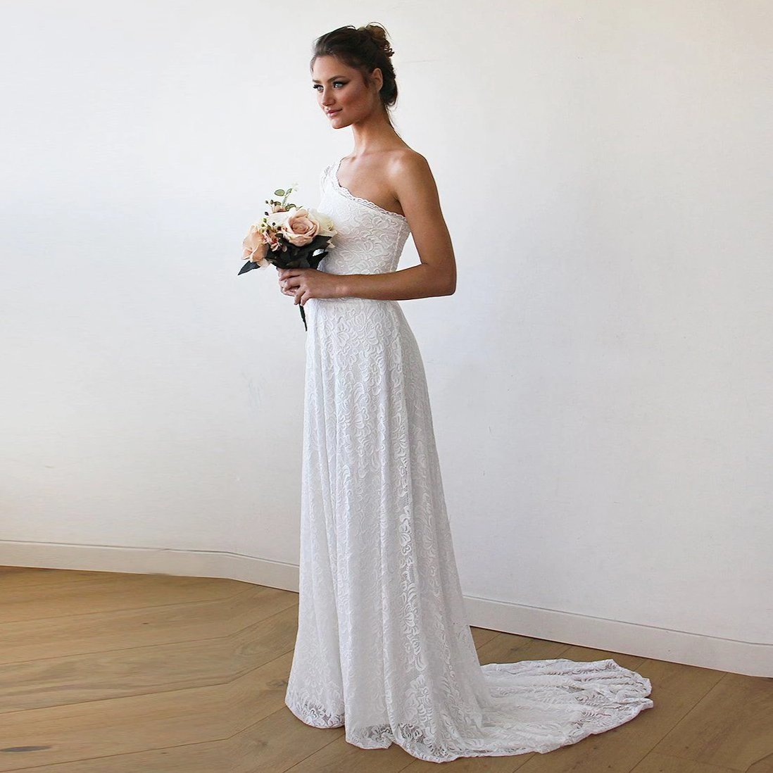 One Shoulder Floral Lace Gown With Long Train 1166 - Blushfashion