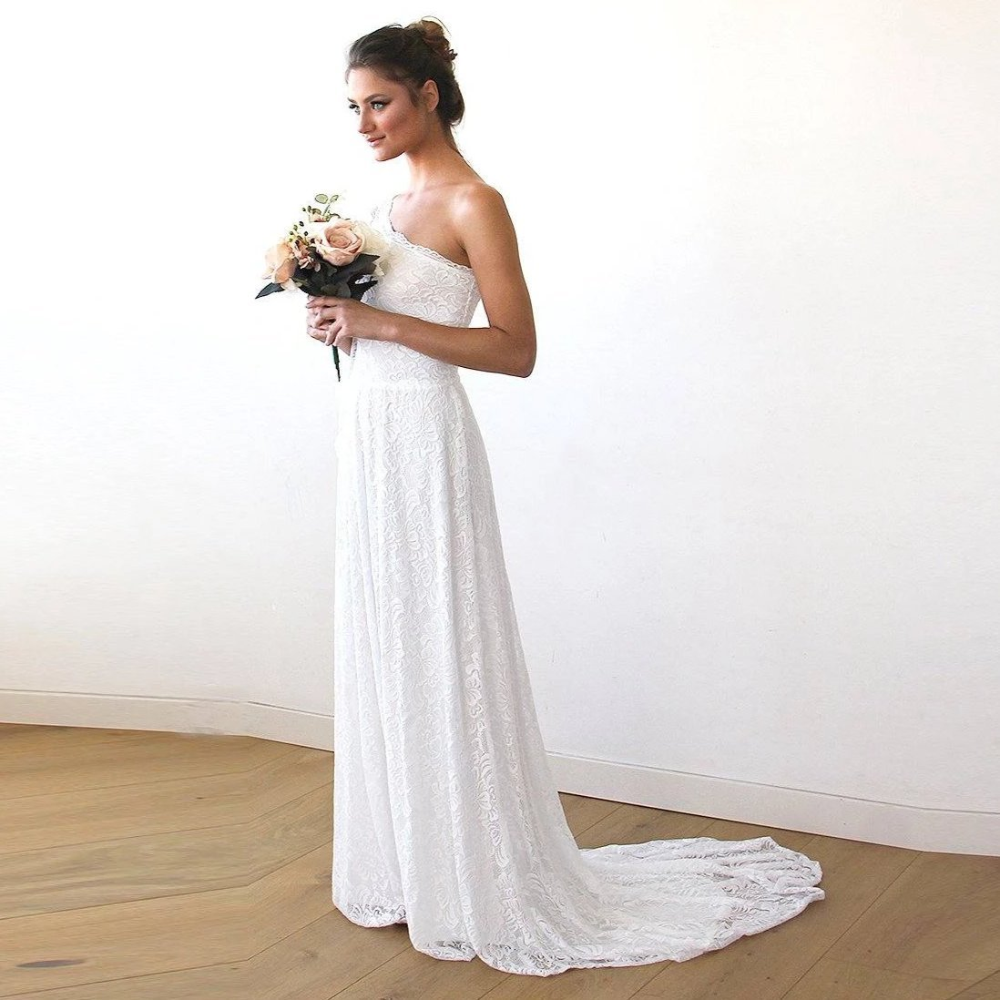 One Shoulder Floral Lace Gown With Long Train 1166 – Blushfashion