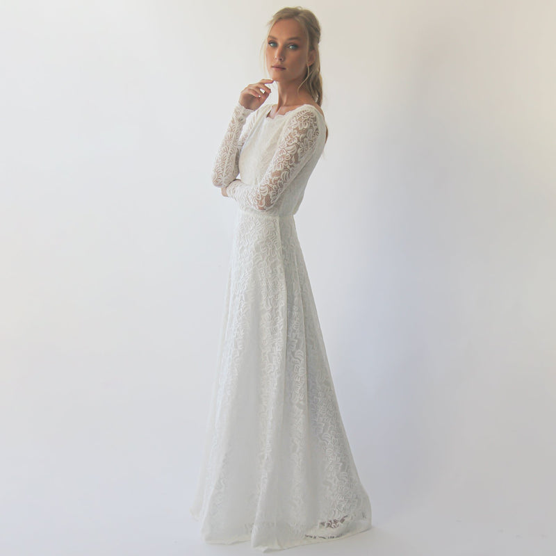 Long sleeves boat neckline modest wedding dress with floral sash belt  #1296