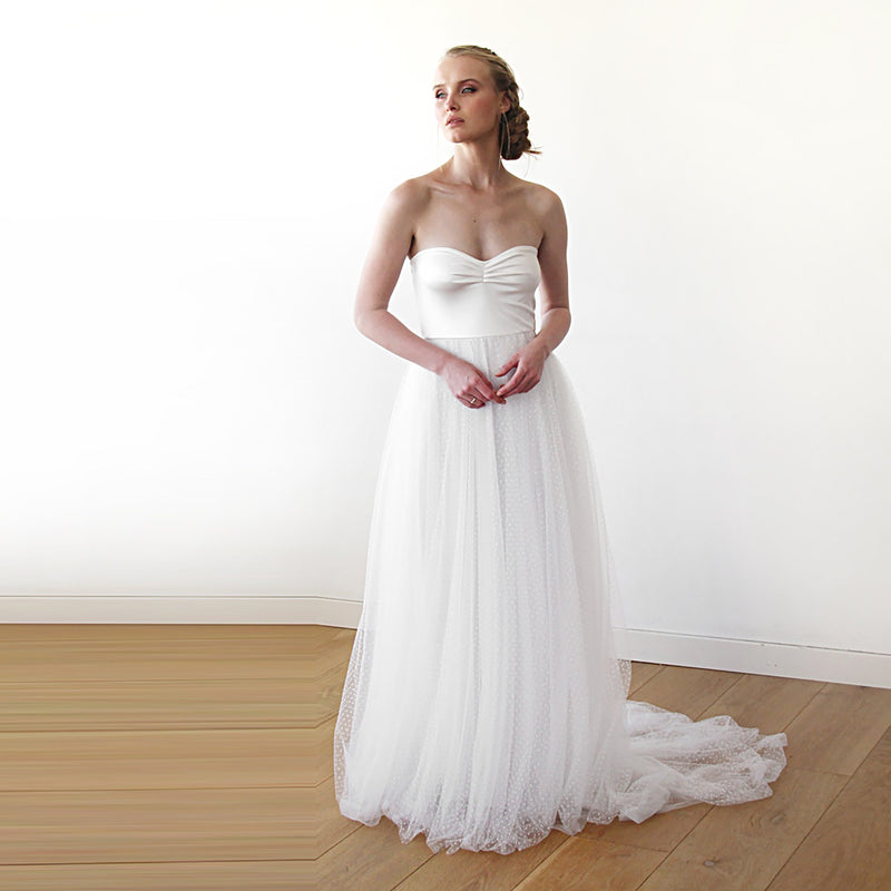 Strapless Dots tulle wedding  dress #1248