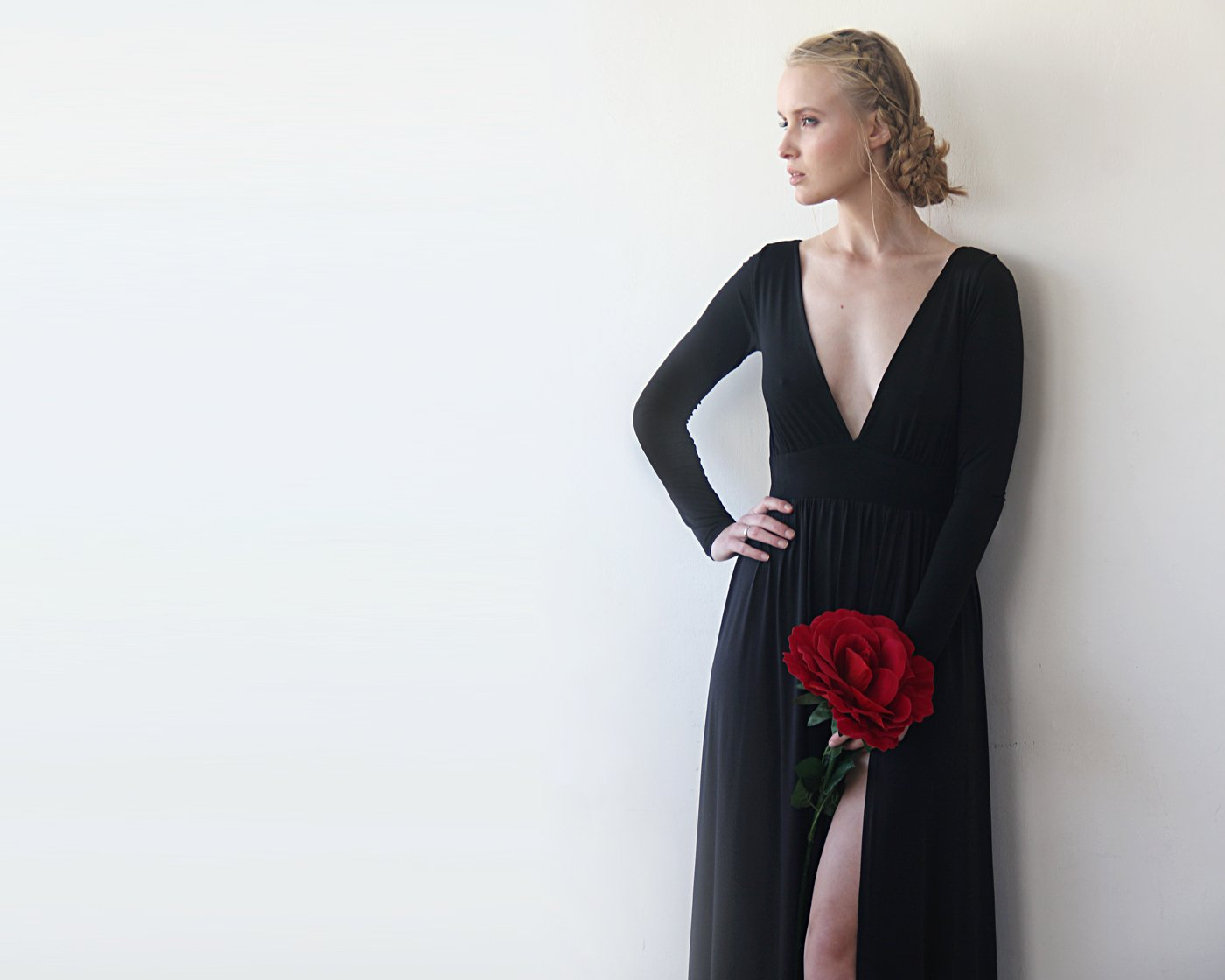 Deep-v Neckline Dress With A Sexy Slit, Long Sleeves Formal Dress, Black Evening Dress 1198
