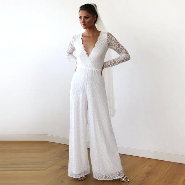 Ivory Wedding Lace Jumpsuit #1169